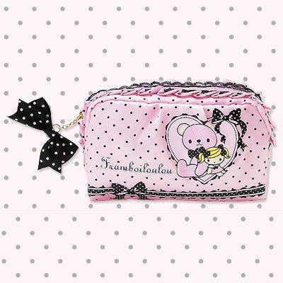 *凱西小舖*日本進口三麗歐正版可愛FRAMBOILOULOU泰迪熊&露露妹妹系列緞面收納/化妝包(M)