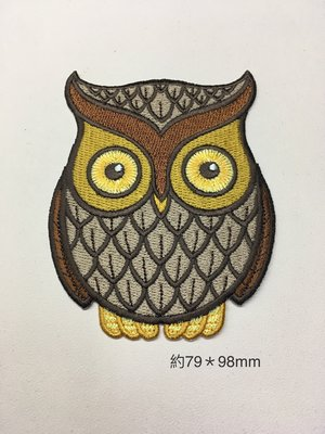 IAN'S 刺繡設計  貓頭鷹--繡花貼布/繡花貼紙