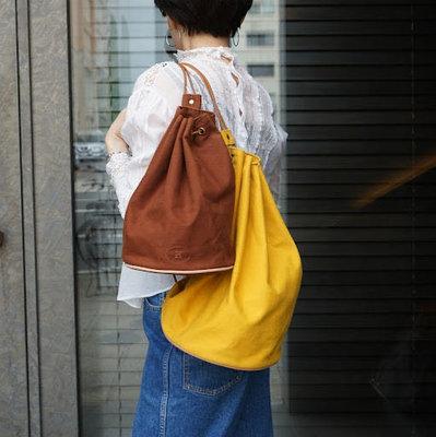 Hermes Polochon Mimile棉質帆布水桶包後背包側背包Cotton Canvass愛馬仕深藍棕