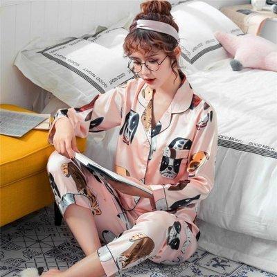 【蘑菇小隊】春蔻春秋季絲綢睡衣女卡通長袖夏季薄款冰絲綢睡衣兩件套裝家居服-MG22842