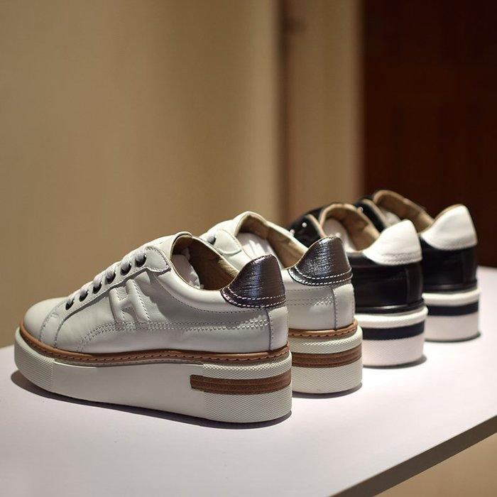 【MISS.LENG】2019新款真皮松糕女鞋復古增高休閒單鞋厚底鞋小白鞋女