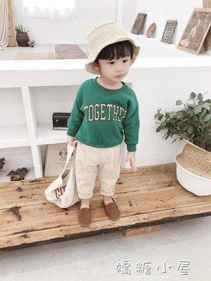 棉小班男童抓絨衛衣新款冬裝寶寶加厚套頭衫兒童字母抓絨衫