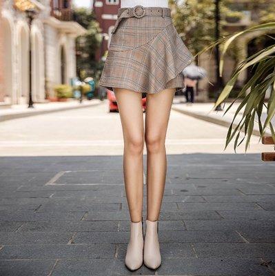 ✻美人魚的秘密✻MS風靡歐洲館-4519 秋冬復古格紋 英倫摩登時尚風格 圓型扣飾高腰褲裙短褲擴腿套裝 OLADY