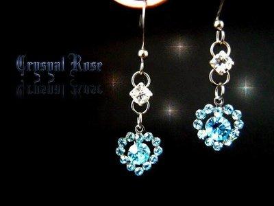 ※水晶玫瑰※ 水晶鑽 耳勾式耳環(DD404)~三件免郵
