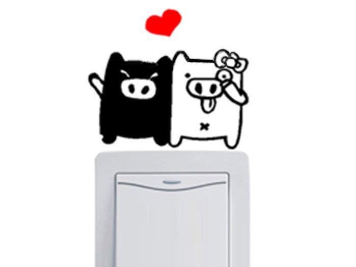 壁貼工場-可超取 小號壁貼 牆貼 貼紙 開關貼-  HK5-356  情侶豬(結婚豬)