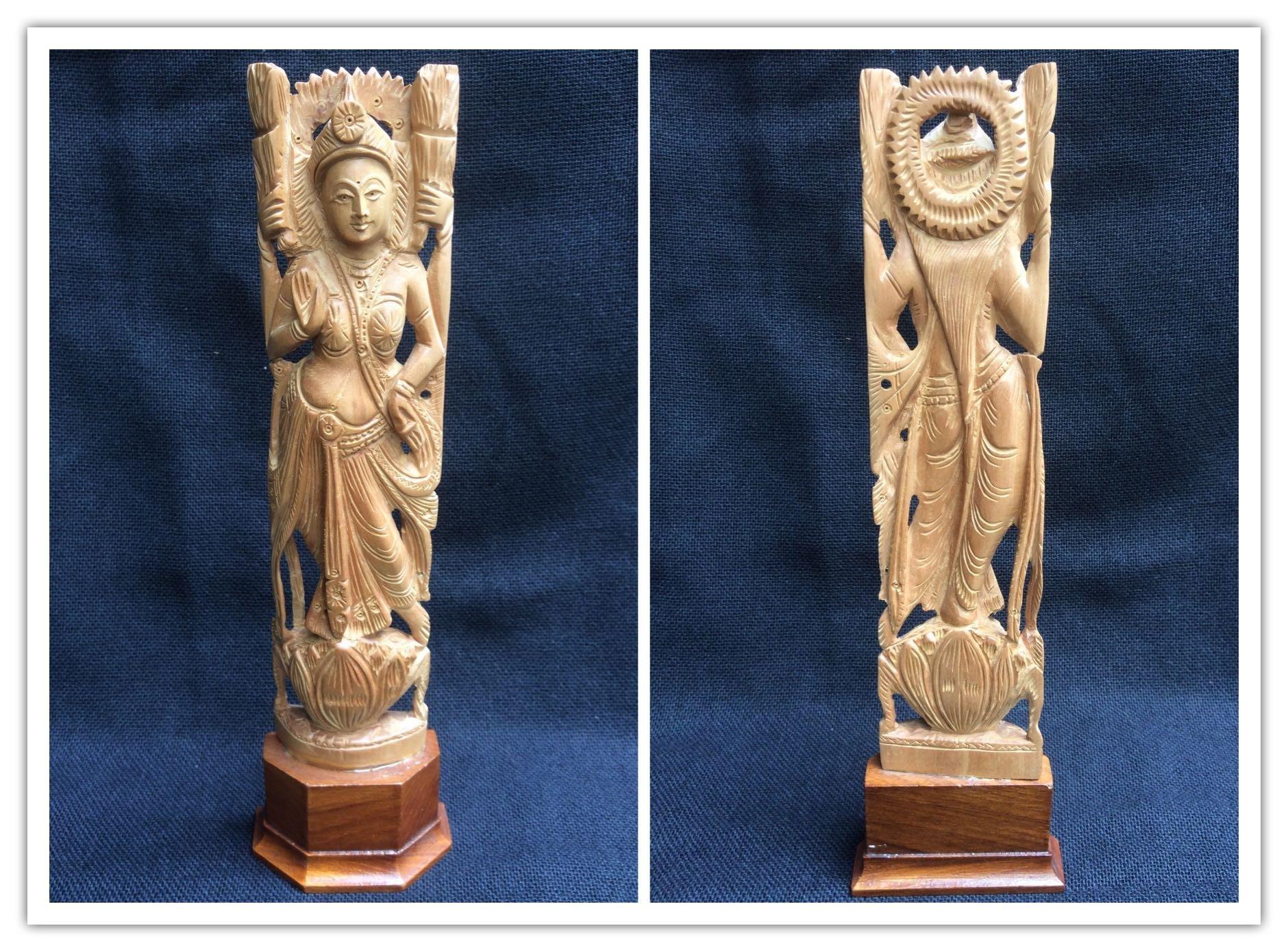 印度老山檀香 拉克什米 吉祥天 雕刻