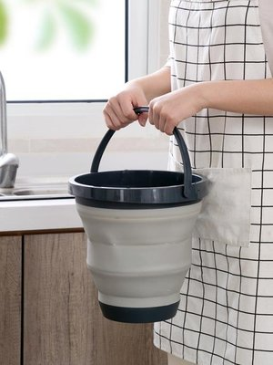 儲水桶車載折疊手提水桶家用伸縮折疊桶塑料釣魚桶加厚塑料桶洗車小圓桶   全館免運