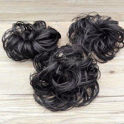 黑色 非主流假髮髮圈 普通絲 做盤髮造型專用 捲髮包 甜甜圈髮束