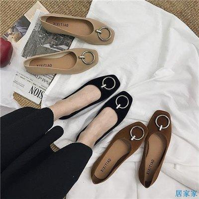 居家家  新款秋冬黑色單鞋女韓版淺口方頭平底圓扣絨面舒適平跟工作鞋