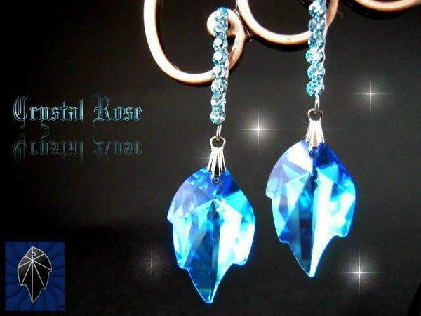 ※水晶玫瑰※ SWAROVSKI 楓葉水晶吊墜 鑲鑽耳針式耳環(DD005)~僅此一對