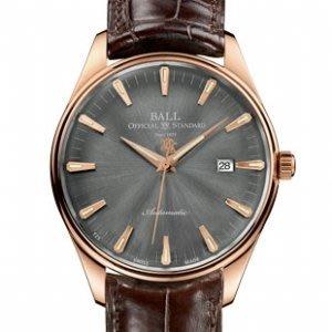 [永達利鐘錶] BALL 18K金 鱷魚皮錶帶 機械腕錶 (灰面) NM2888D-PG-LJ-GYGO免運費