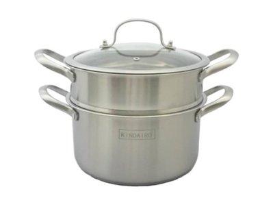 (金太郎) 24CM 歐式三層底 304不銹鋼蒸煮鍋/湯鍋/高鍋/蒸鍋