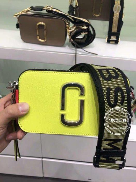 19早春款_螢光色+新字母肩帶 黃色 小馬克 全新真品 marc jacobs 相機包_MJ Snapshot Bag