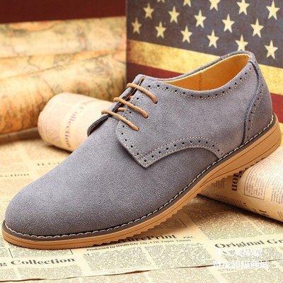 【格倫雅】^承發男士休閑鞋布洛克鞋男真皮反絨皮男鞋系帶牛皮男單鞋244[g-l-y30