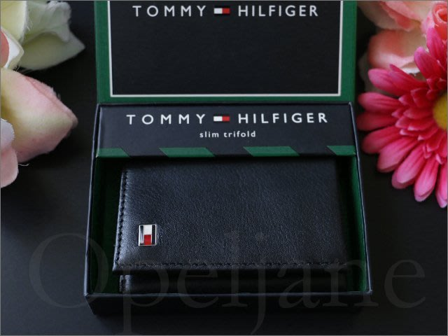 $859 Tommy Hilfiger TH 黑色真皮夾 證件信用卡 悠遊卡 三折ID短夾 中夾禮盒裝 愛Coach包包