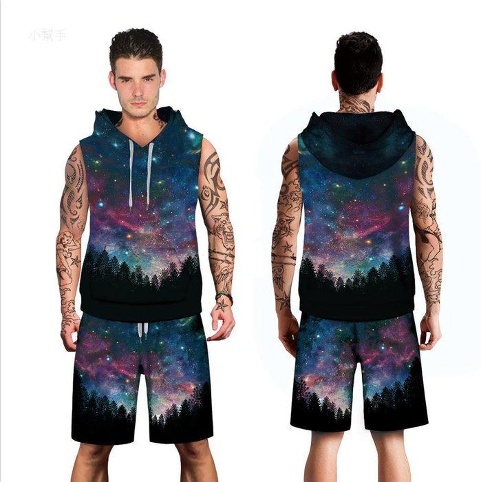 時尚星空樹林數碼印花潮牌連帽無袖背心短褲運動時尚套裝#優品小鋪#