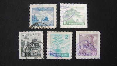 【大三元】韓國銷戳票- E101  風景老票5枚