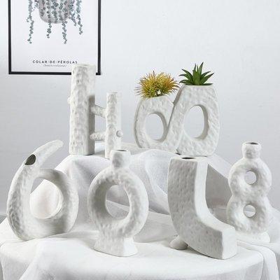 熱賣歐式白色幾何藝術花瓶擺件客廳插花干花裝飾現代簡約陶瓷花器飾品#擺件#陶瓷#北歐
