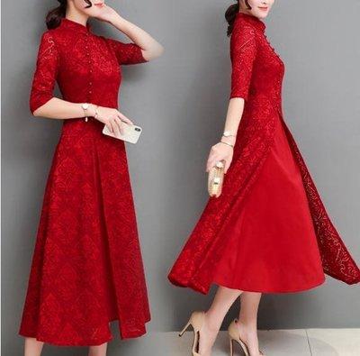 改良式旗袍2018秋季新款奧黛蕾絲端莊大氣少女中國風連身裙 Ic2505