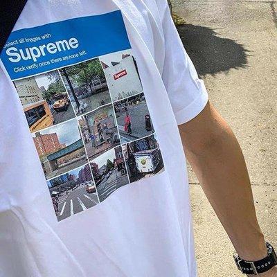Supreme 20FW Verify Tee九宮格街景驗證碼照片短袖T卹男女情侶潮