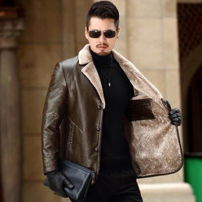 真皮皮衣 男士加絨加厚100%綿羊皮毛一體夾克西裝領中年冬