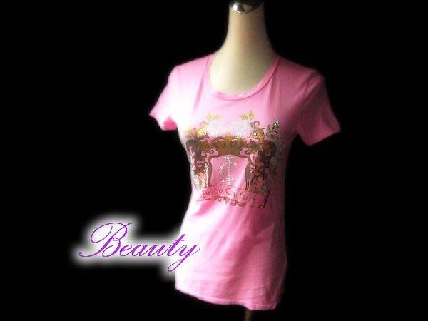 *Beauty*Juicy Couture粉紅色水鑚短袖棉T恤 約95新