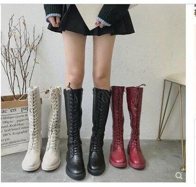 網紅秋冬新款加絨長靴瘦瘦靴韓版百搭中跟高筒靴女靴子前系帶靴