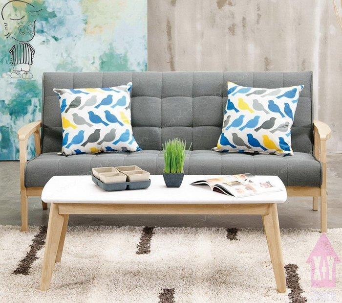 【X+Y時尚精品傢俱】現代沙發組椅系列-妮克絲 休閒沙發三人椅.不含茶几及抱枕.橡膠木實木+高級棉麻布座墊.摩登家具