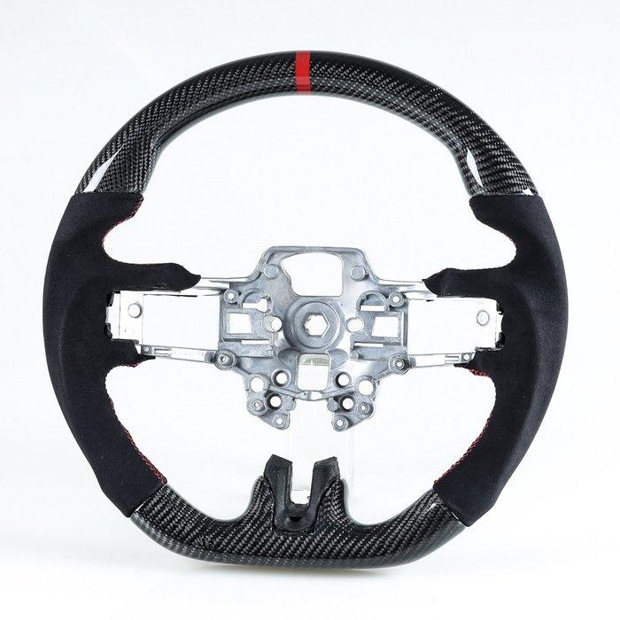[卡夢碳纖維+麂皮] 方向盤 福特野馬Ford Mustang 2019-2020年適用 /紅線+紅環1cm