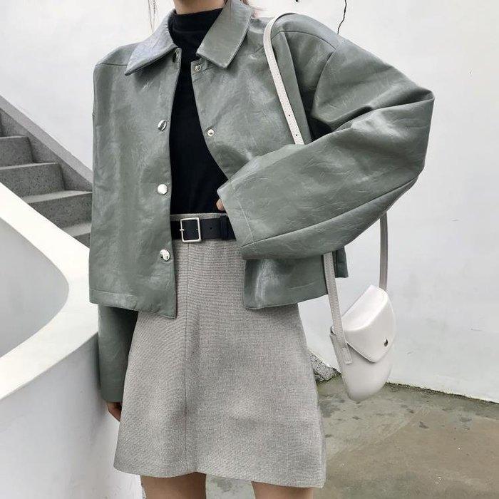 皮外套女春秋韓版寬鬆長袖上衣秋裝2018新款港味復古CHIC短款夾克