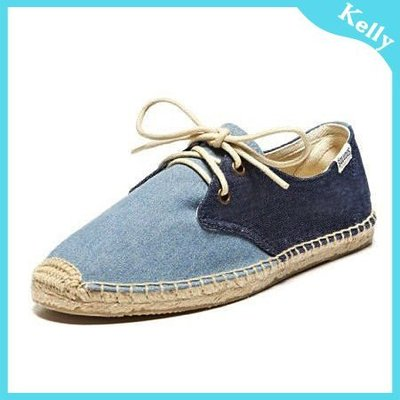 Kelly代購* Soludos【牛仔綁帶】Color Block Lace Up 休閒草編麻編 雙色牛仔帆布鞋 toms