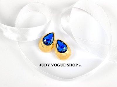 耳環 韓國 高雅奢華復古耳針 孔雀藍鋯石 JUDY VOGUE SHOP【JES-0005】