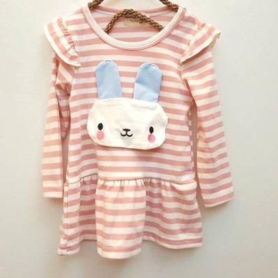 小蜜桃精緻 衣舖~~16112035幼童款粉色橫條紋小兔洋裝 100元可面交
