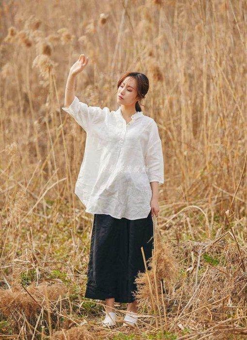 發發潮流服飾D0夏新款文藝花邊立領純色簡約棉麻七分袖襯衫寬松休閒襯衣0.19
