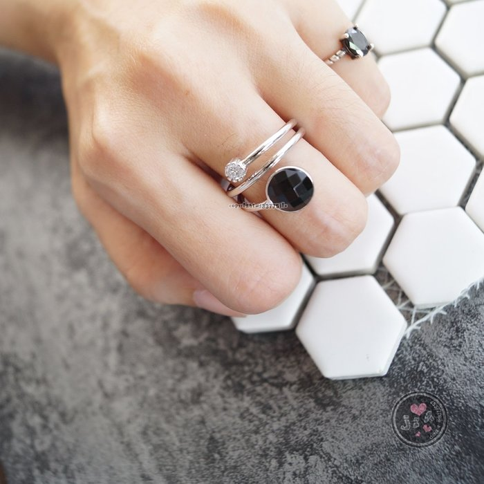 【Jia' s】三圈黑曜石馬賽克純銀戒指開口戒三層戒S925。正生純銀