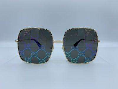 全新 正品 古馳 Gucci 太陽眼鏡 墨鏡 金色大方框 雙G環扣 老花炫彩雷射鏡面 大黃峰標誌腳套 Gucci 0414S,003