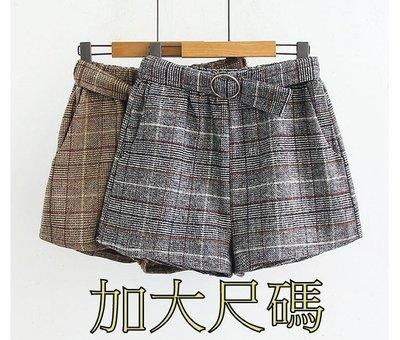 E222 秋季大尺碼毛呢短褲新款高腰寬鬆休閒闊腿褲