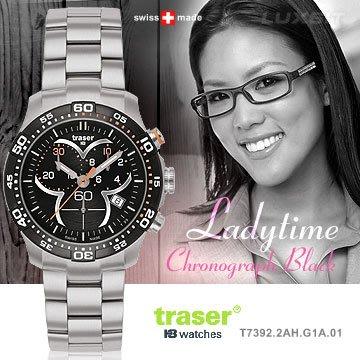 丹大戶外用品【Traser】Ladytime Chronograph Black三環時尚錶(女錶)#100298