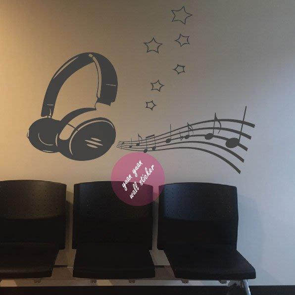【源遠】耳機x音樂【M-05】 壁貼 設計 裝潢 璧紙 璧貼 室內設計  唱片 音符 music 鋼琴