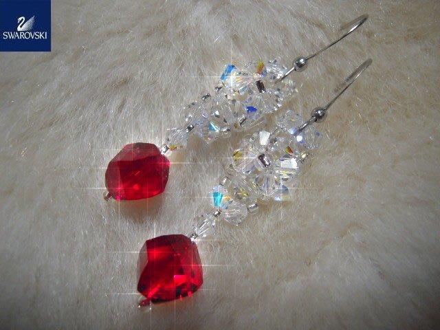 ※水晶玫瑰※ SWAROVSKI 切角珠水晶 耳勾式耳環(DD276)
