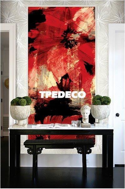 【大台北裝潢】美國Seabrook進口壁紙AV* 大型主題壁畫 Crimson Fields 藝術紅色大花朵