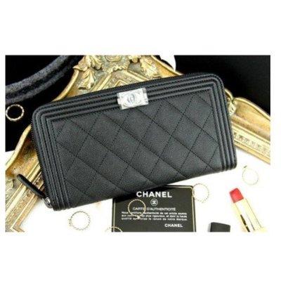 二手Chanel Boy Zipped Wallet 黑色銀CC荔枝紋拉鍊長夾 現貨