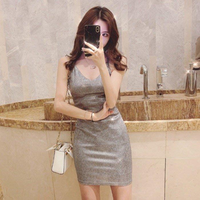 2020新款性感大露背V領低胸吊帶修身顯瘦包臀燙金夜店連身裙女
