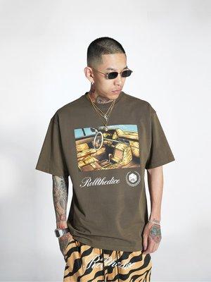Cover Taiwan 官方直營 凱迪拉克 跳跳車 Lowrider 嘻哈 短Tee 短袖 咖啡色 大尺碼 (預購)