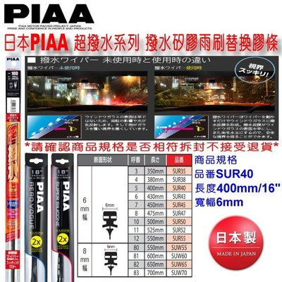 和霆車部品中和館—日本PIAA 超撥水系列 矽膠超撥水替換型雨刷膠條 幅寬6mm 長度16吋/400mm 品番SUR40