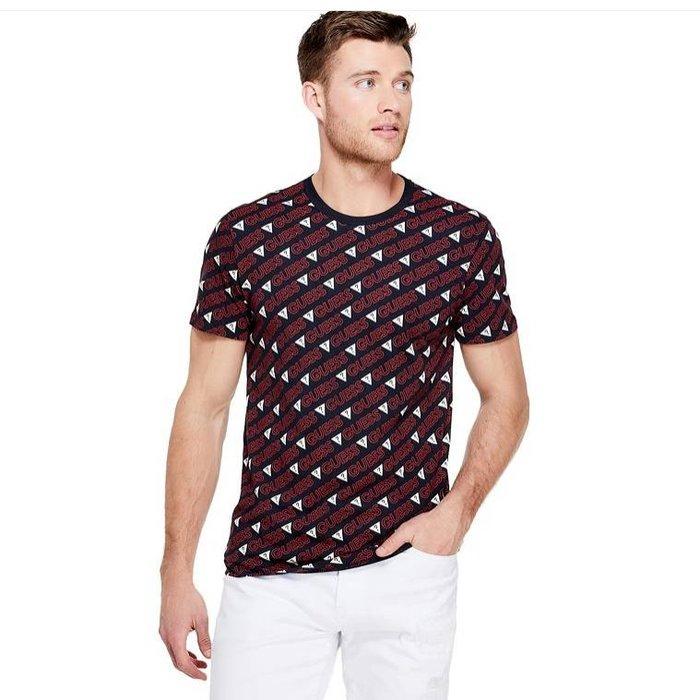【GUESS】GUESS男款短袖T恤印滿斜紅GUESS黑 F03190514-02