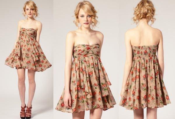 【ASOS WORLD】英國直送 現貨 復古玫瑰花雪紡束胸高腰傘狀娃娃裝多層次飄逸洋裝孕婦可UK12