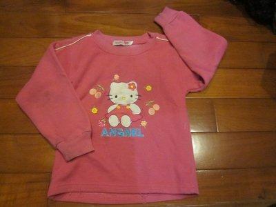 二手童裝出清--桃色kitty長袖上衣--粗穿