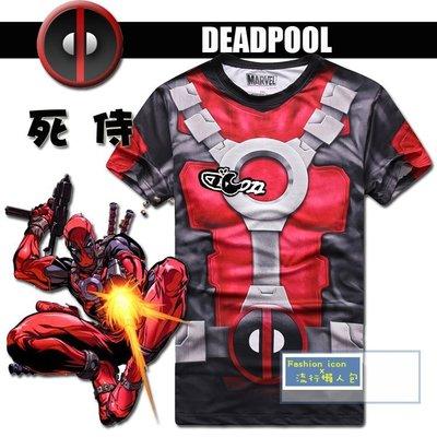 漫威復惡棍英雄 死侍Deadpool 反英雄黑色幽默造型T恤 cosplay/ 變裝party 2件免運!