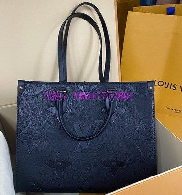 May二手精品 LV Onthego手袋 黑色中號 M45040 壓紋粒面牛皮 手提包 購物袋 媽咪包 現貨